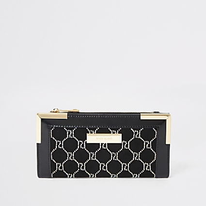 Black embellished foldout metal corner purse