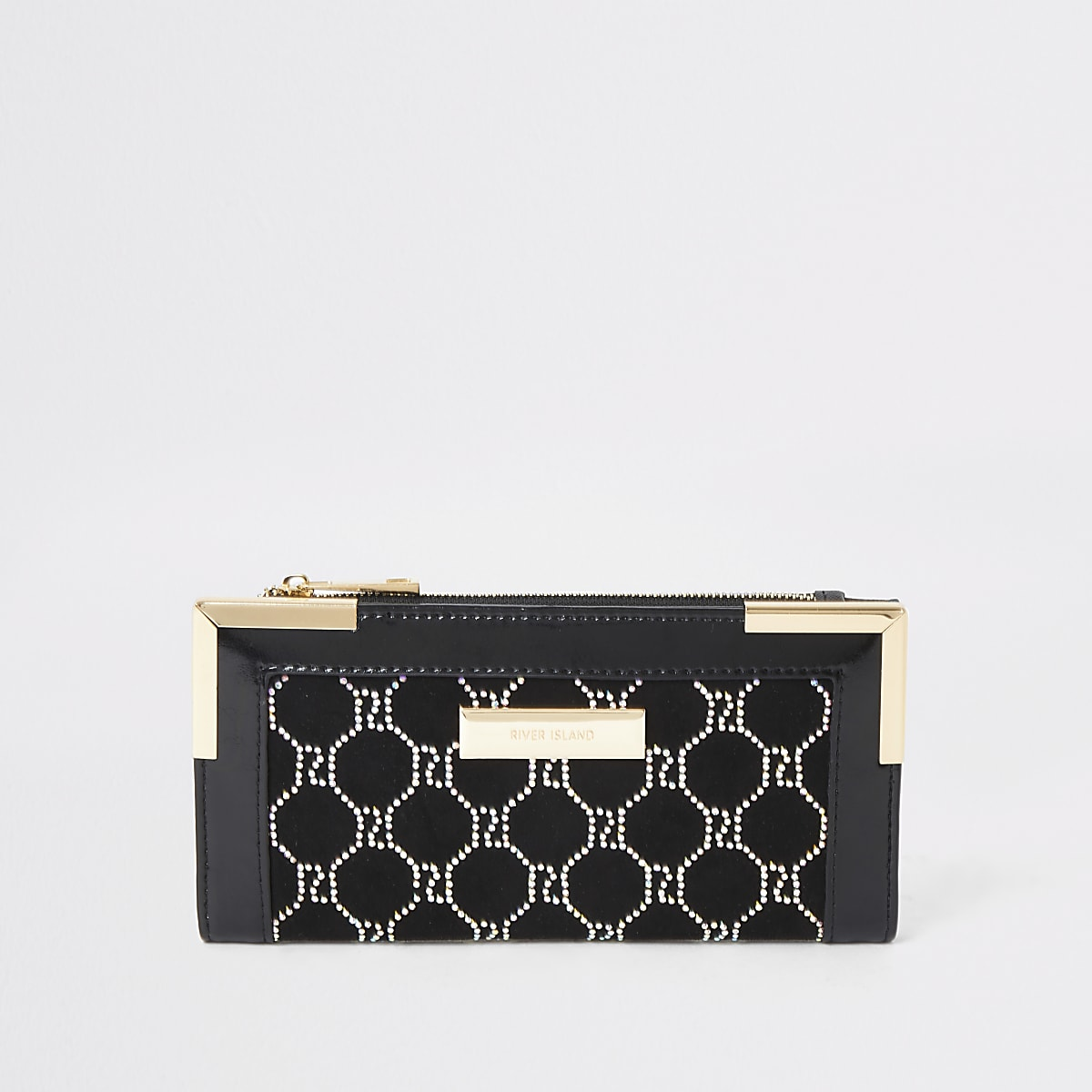 Zwarte verfraaide uitvouwbare portemonnee met metalen hoeken