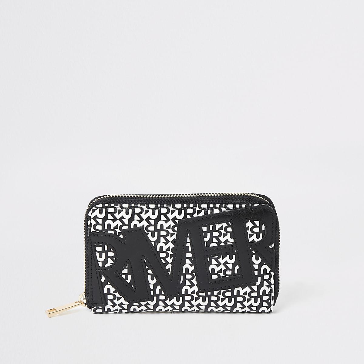Zwarte portemonnee met rits rondom en River-print