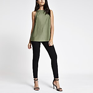 Khaki pleated top