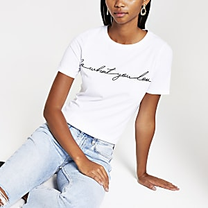 White 'Do what you love' print T-shirt