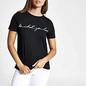 T-shirt noir imprimé «Do What You Love»