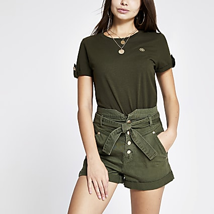Khaki high waist denim shorts