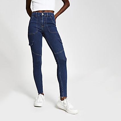 Mid blue Amelie super skinny utility jeans