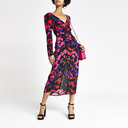 Pink print ruched long sleeve midi dress