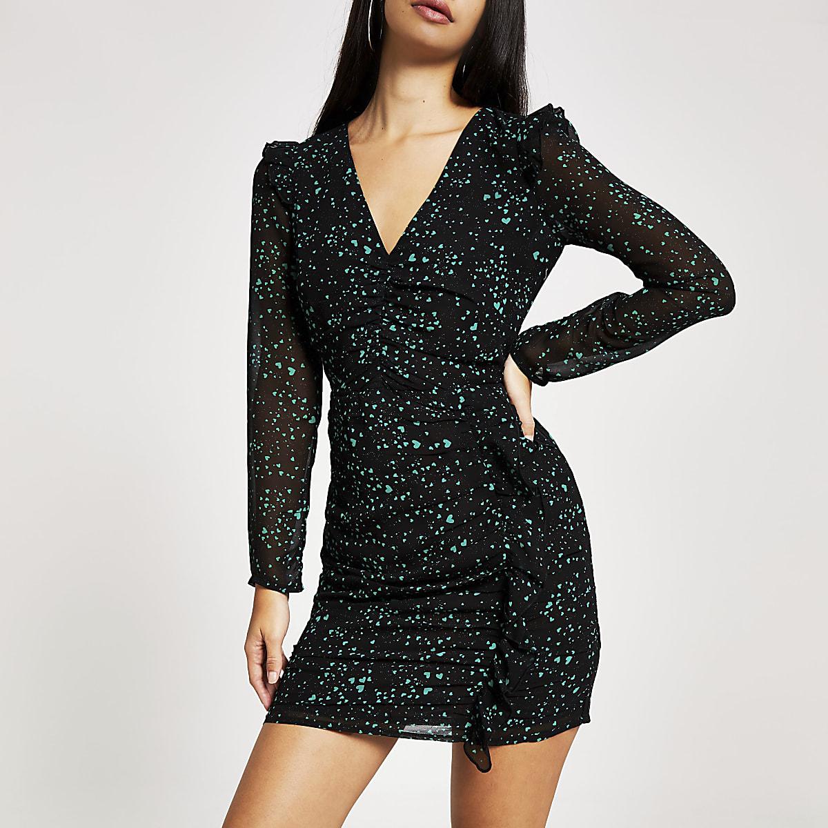 Zwarte mini-jurk met ruches, lange mouwen en print