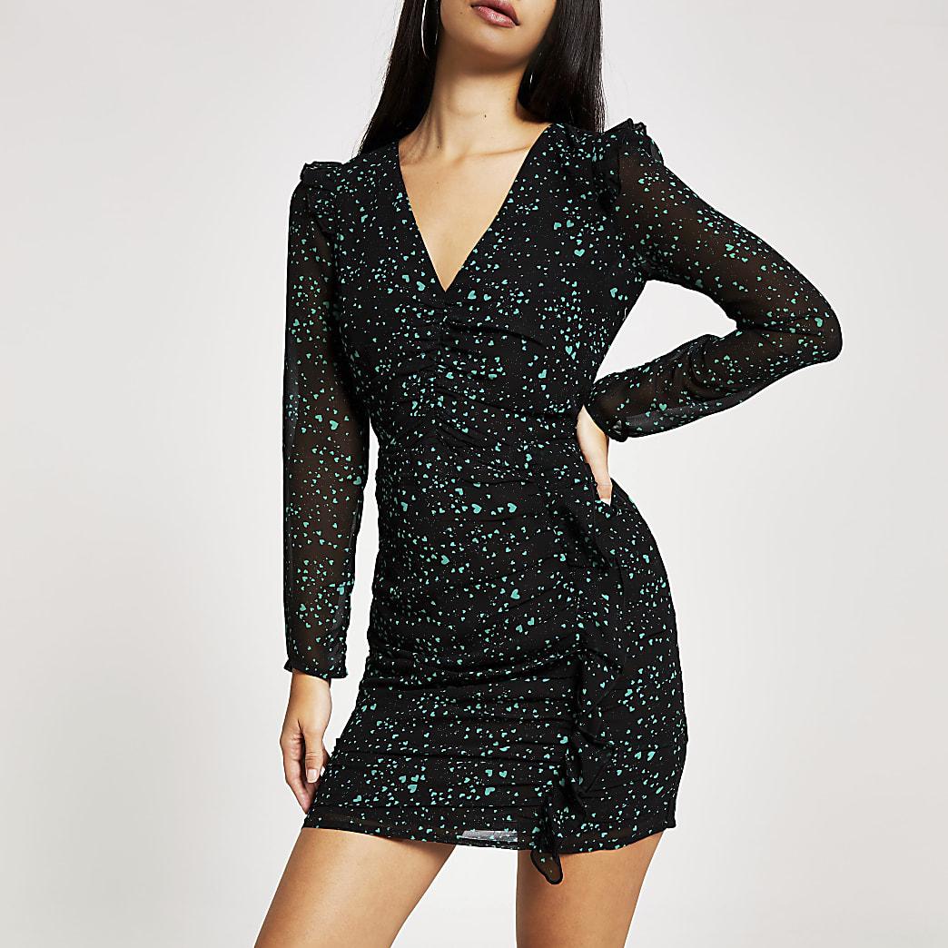 Black printed ruched long sleeve mini dress