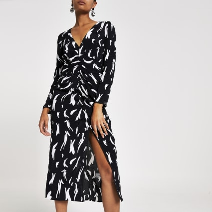White printed ruched split front midi dress