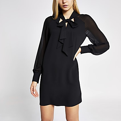 Black chiffon tie neck swing mini dress