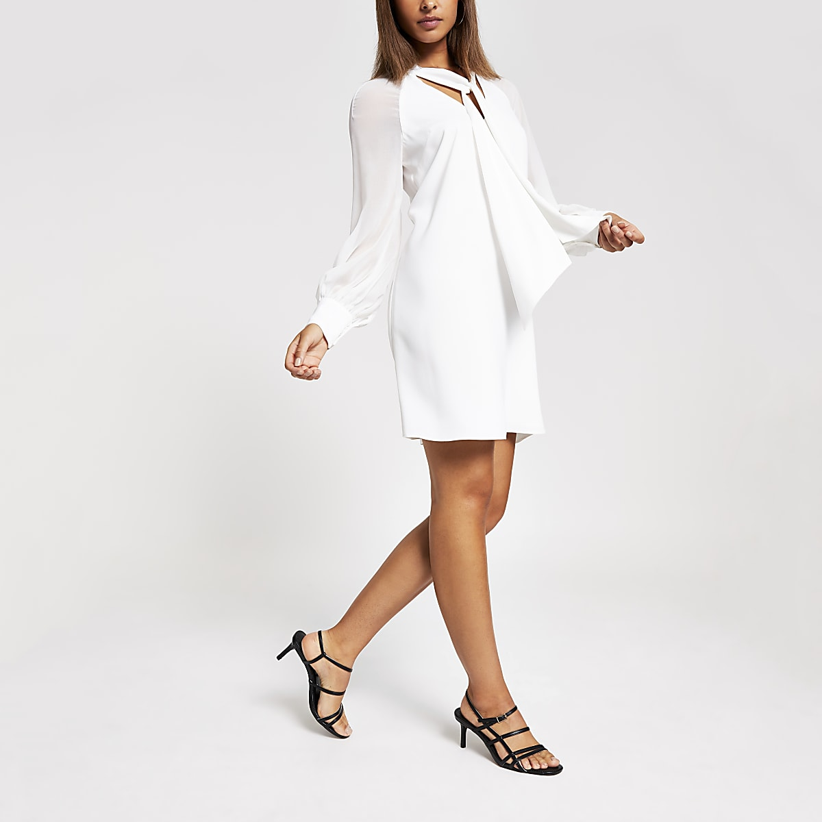 White Chiffon Tie Neck Swing Mini Dress
