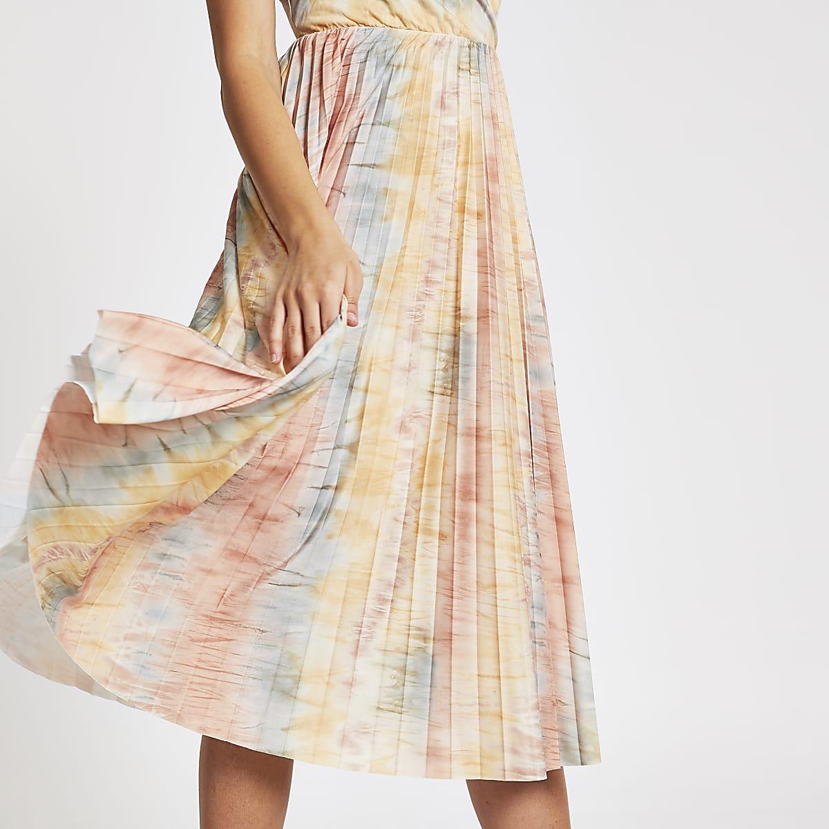 ecb3c99353962 Beige tie dye pleated wrap dress - Swing Dresses - Dresses - women