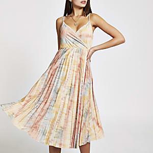 Beige tie dye pleated wrap dress