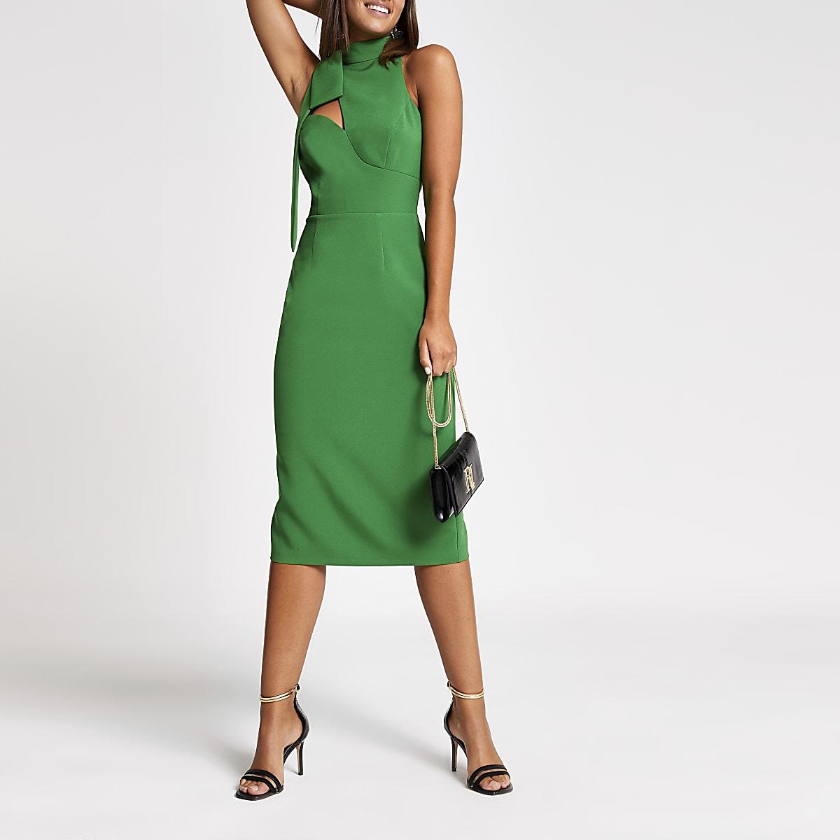 Green cut out bow neck bodycon midi dress