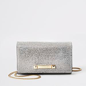 Silberne Handtasche mit Strass