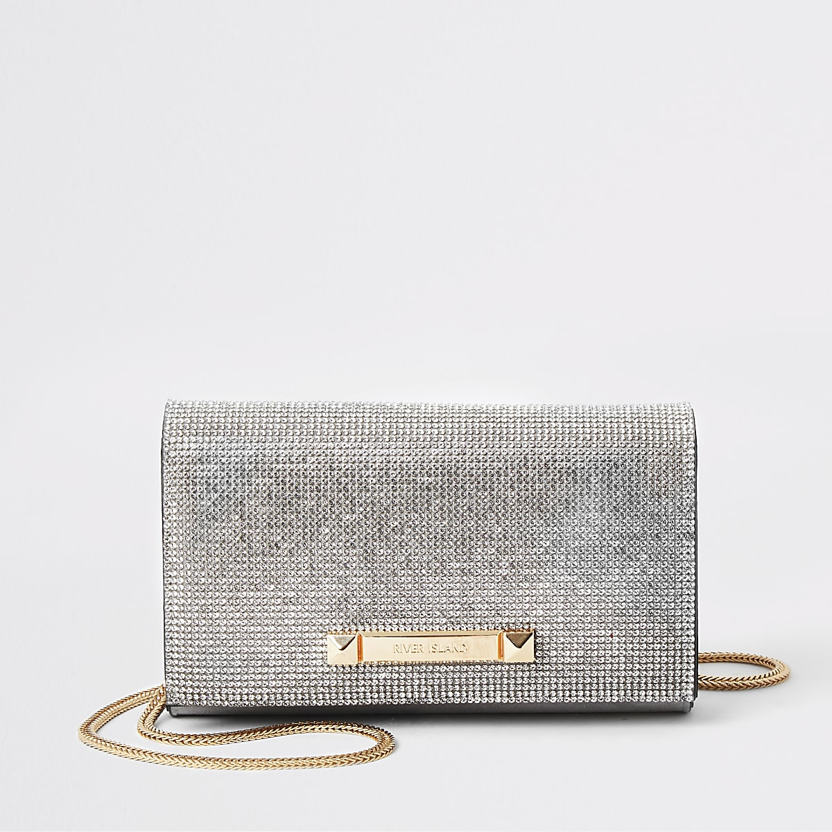 Silver diamante underarm bag