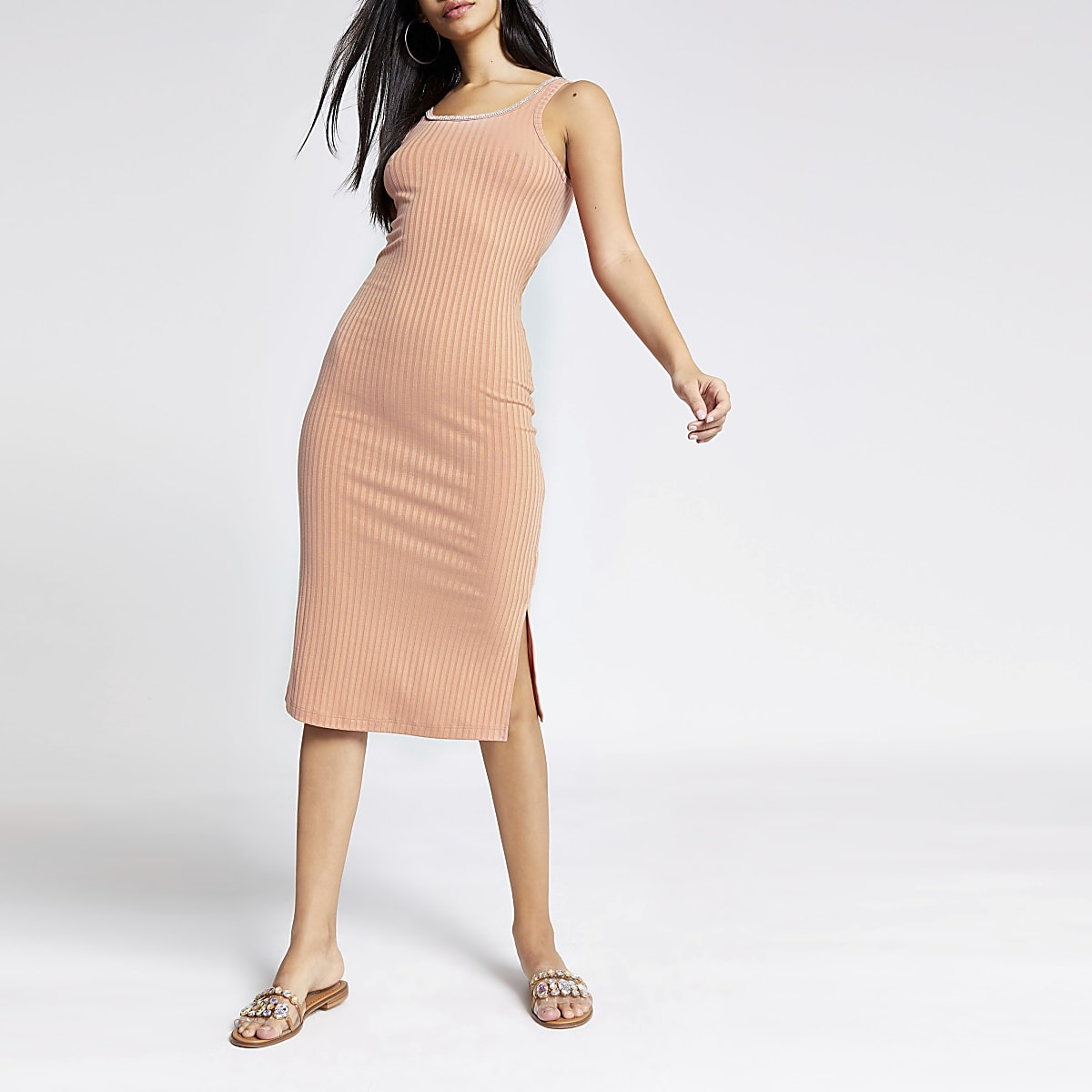 Pink diamante trim midi bodycon dress
