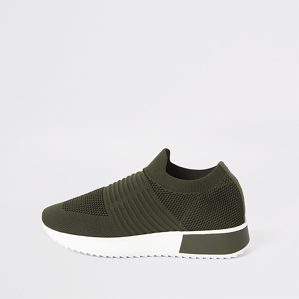 Khaki knit runner trainers