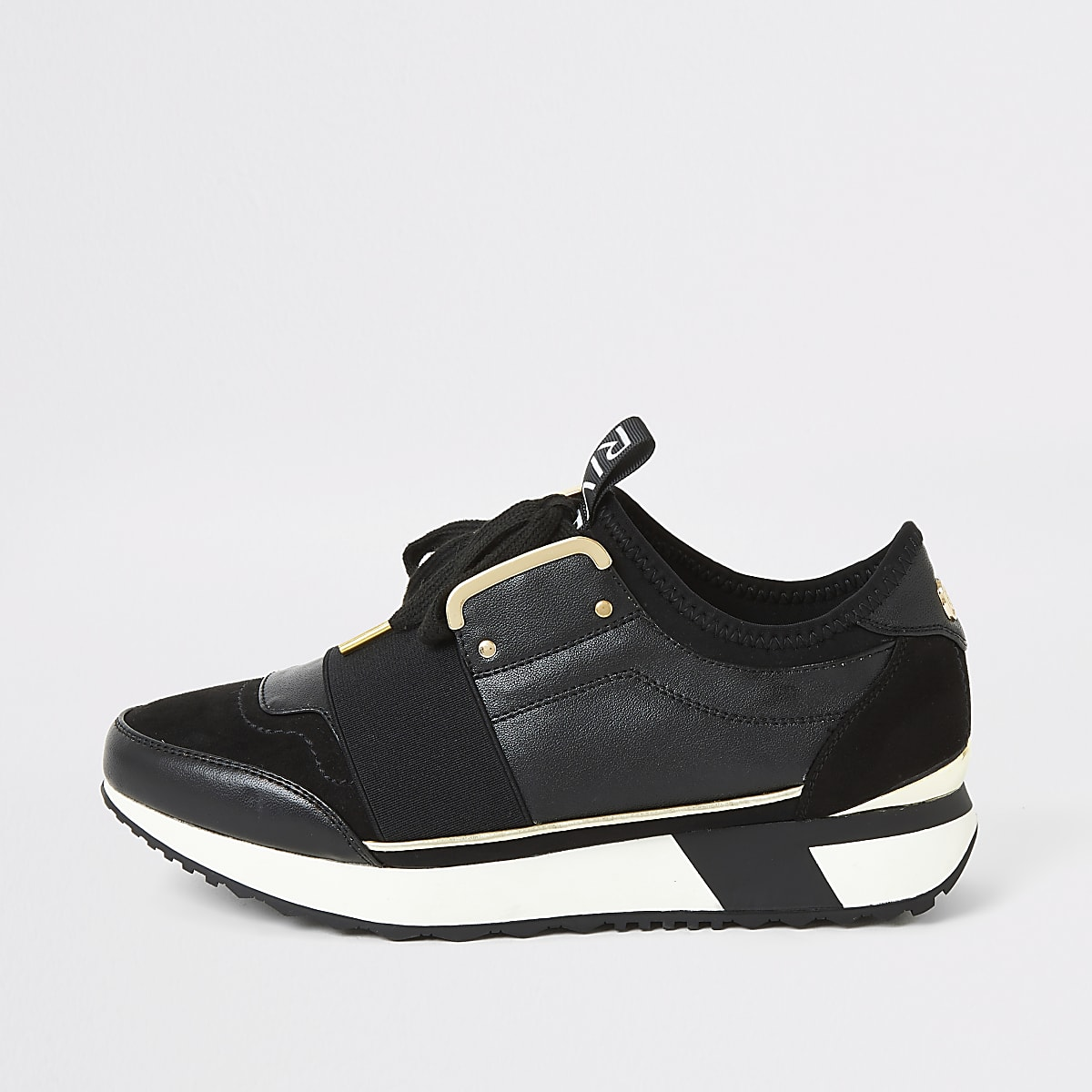Black elasticated lace-up runner trainers