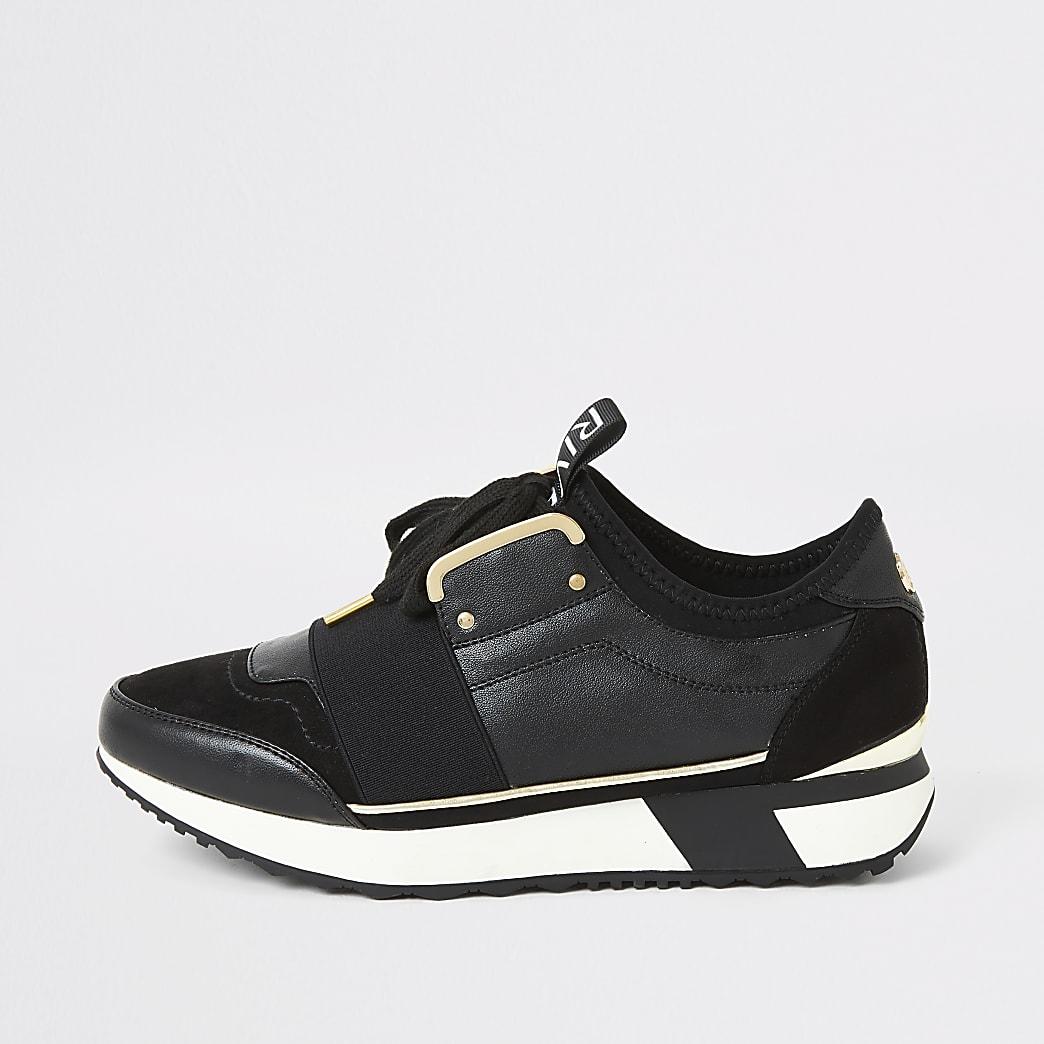 Zwarte elastische sneakers met vetersluiting