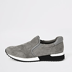 Perforierte Sneaker in Grau