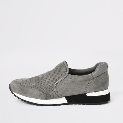 Grey perforated runner trainers