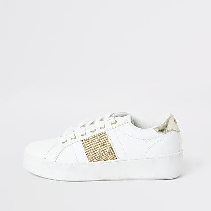 White diamante stripe side trainer