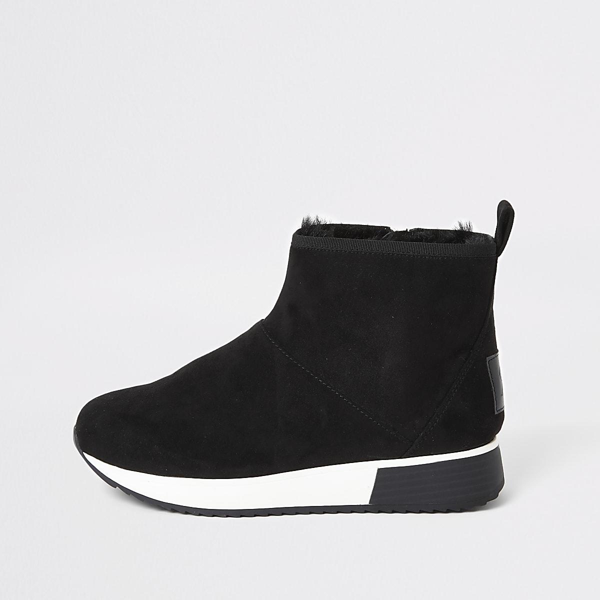 Zwarte sneaker laarzen met imitatiebont voering
