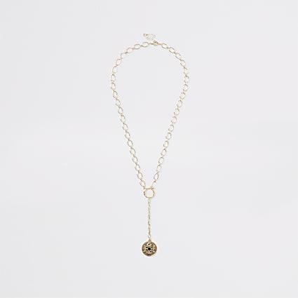 Gold colour chain coin pendant drop necklace