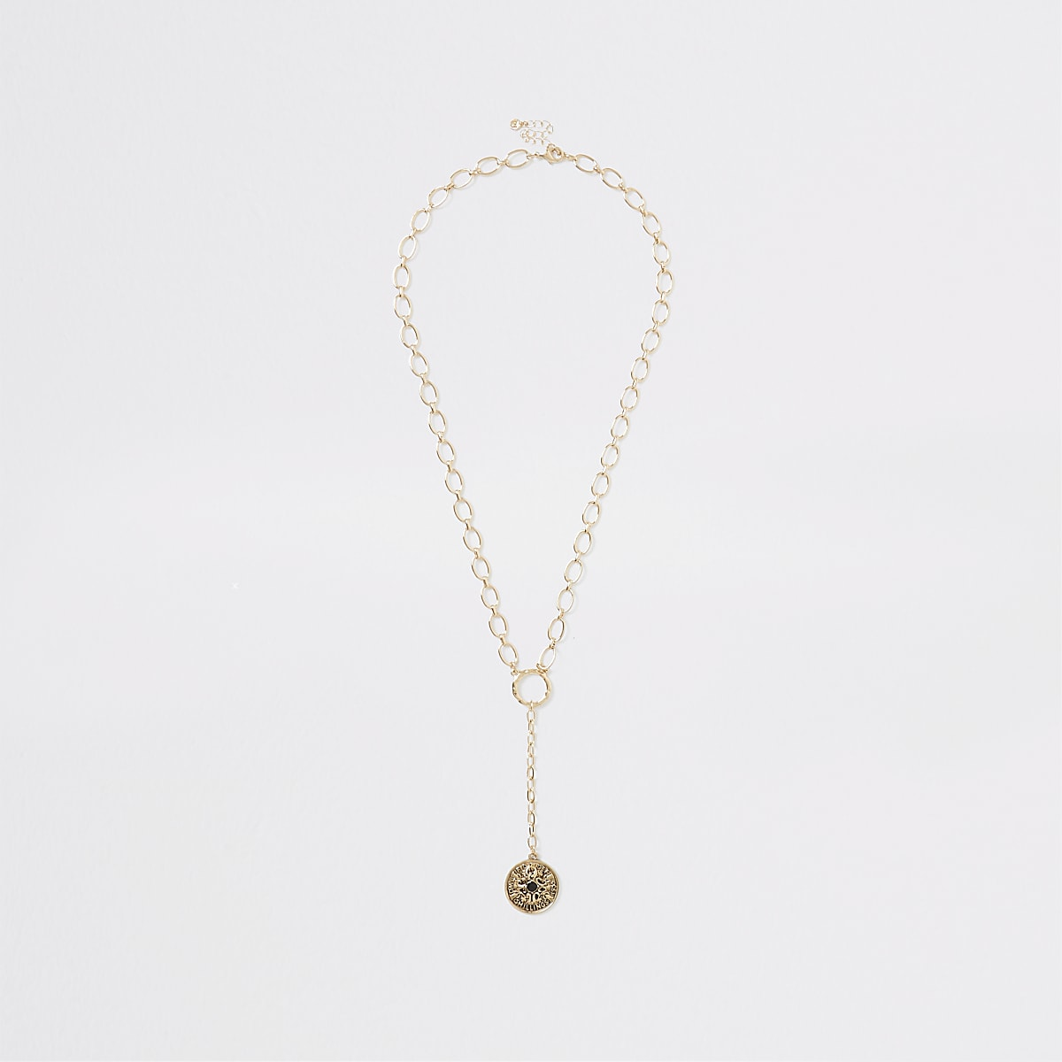 Gold colour chain coin pendant drop necklace