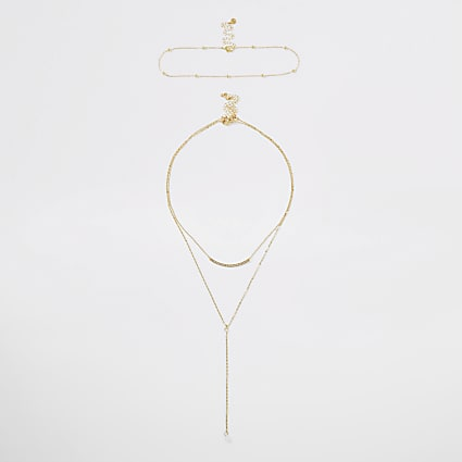 Gold colour layered necklace