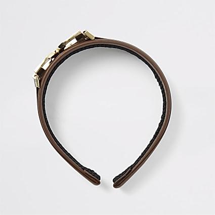 Brown D ring headband