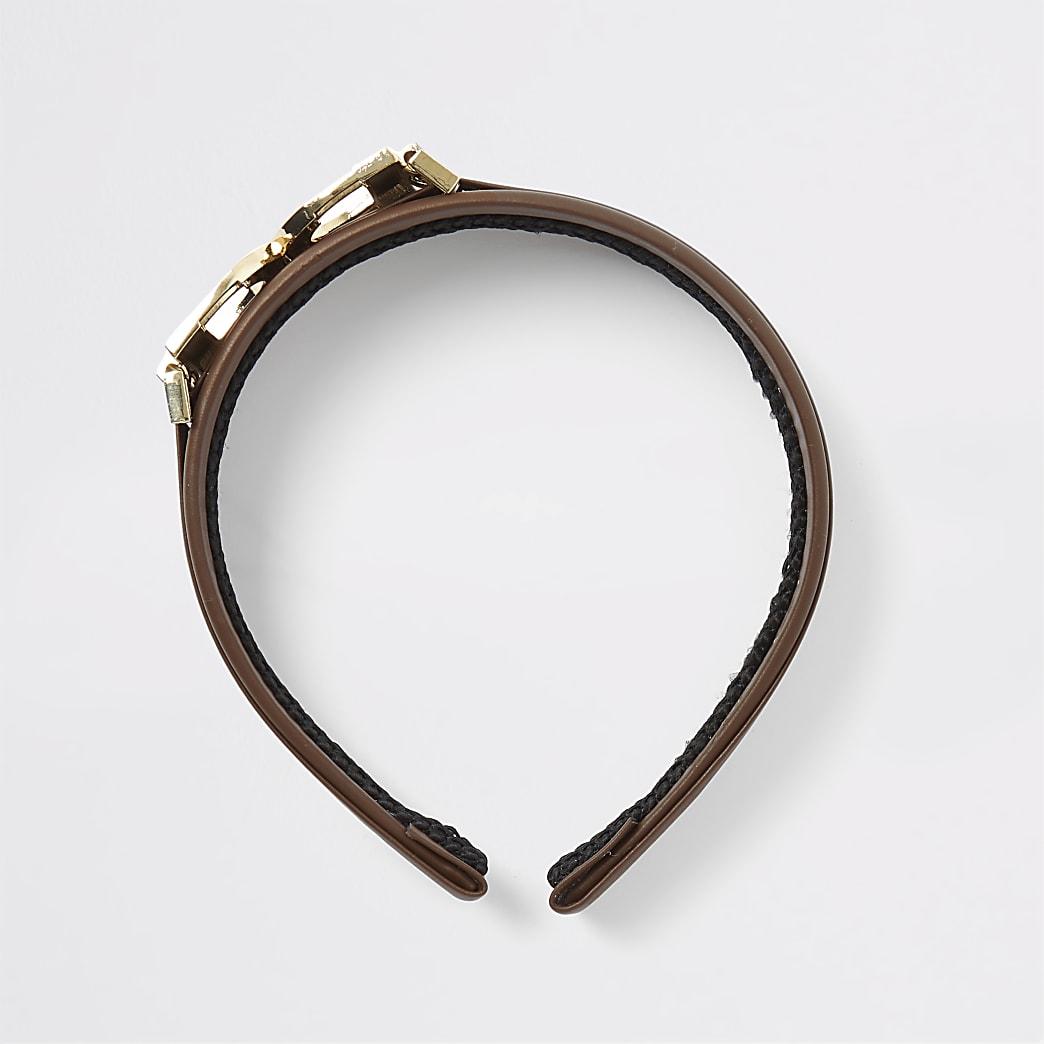 Bruine hoofdband met D-ring