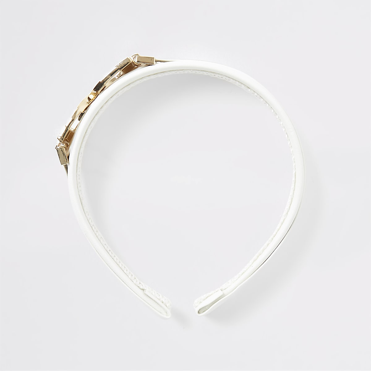 White D ring headband