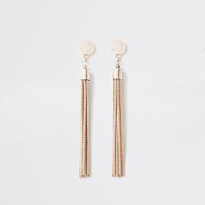 Rose gold colour slinky chain drop earrings