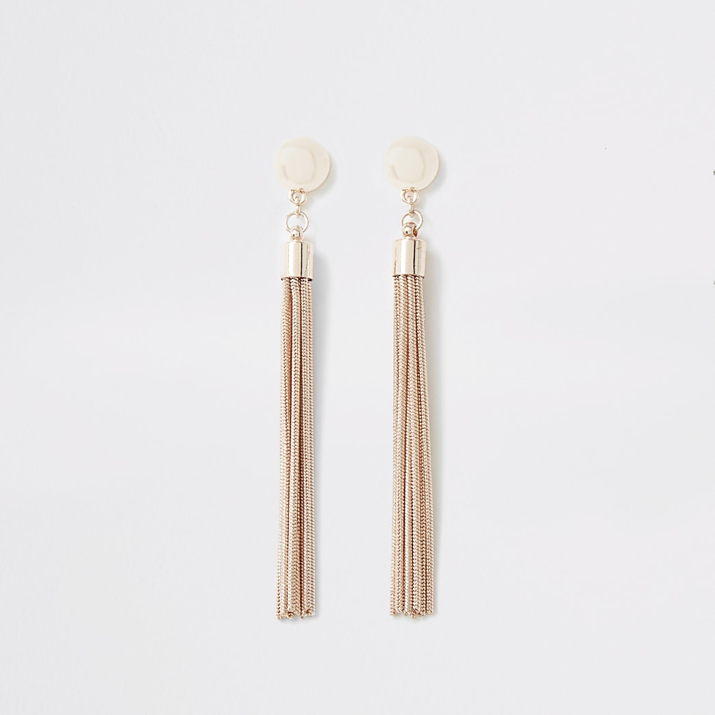 Pendants d'oreilles chaîne or rose