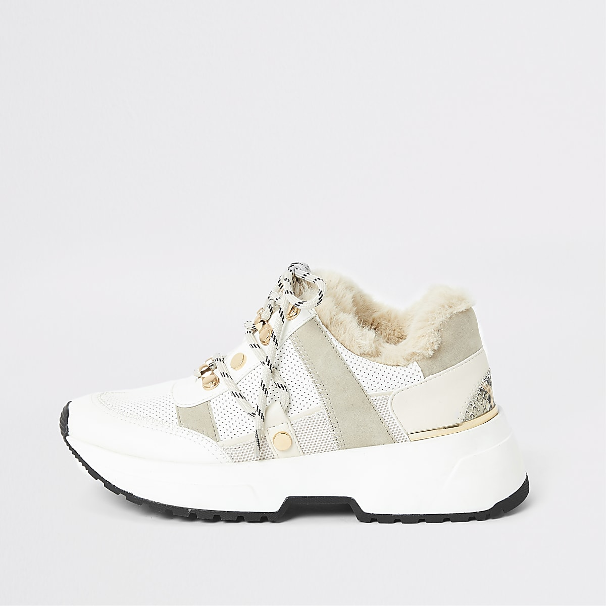 Beige faux fur lined chunky trainers