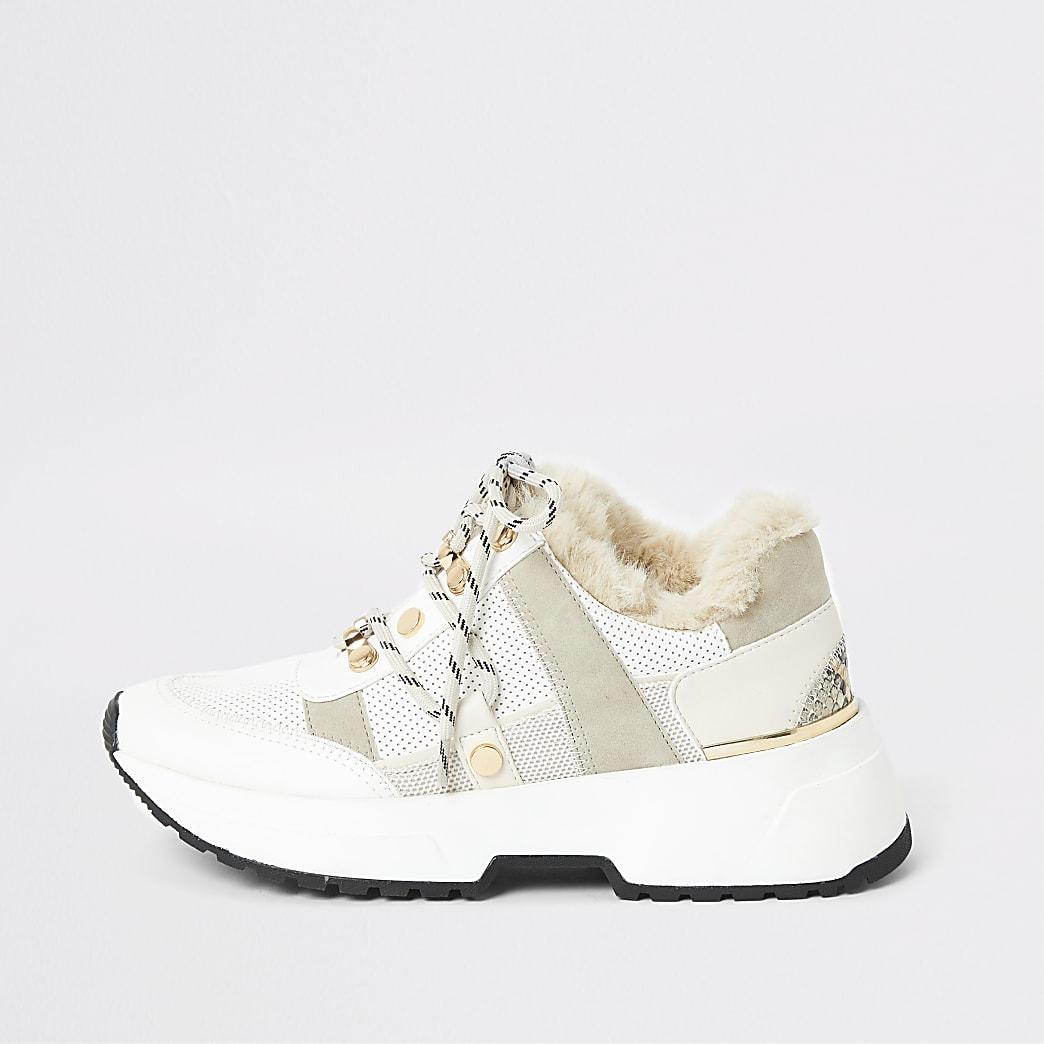 Beige stevige sneakers met rand van imitatiebont