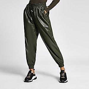 Petite - Pantalon de jogging en similicuir kaki