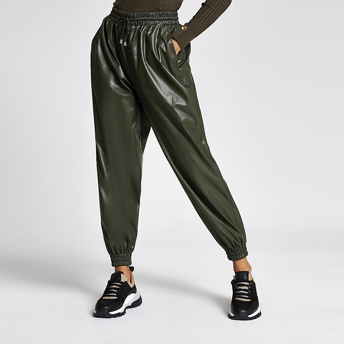 Petite khaki faux leather joggers