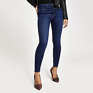 Petite Skinny Molly Jeggings mit halbhohem Bund in Denim