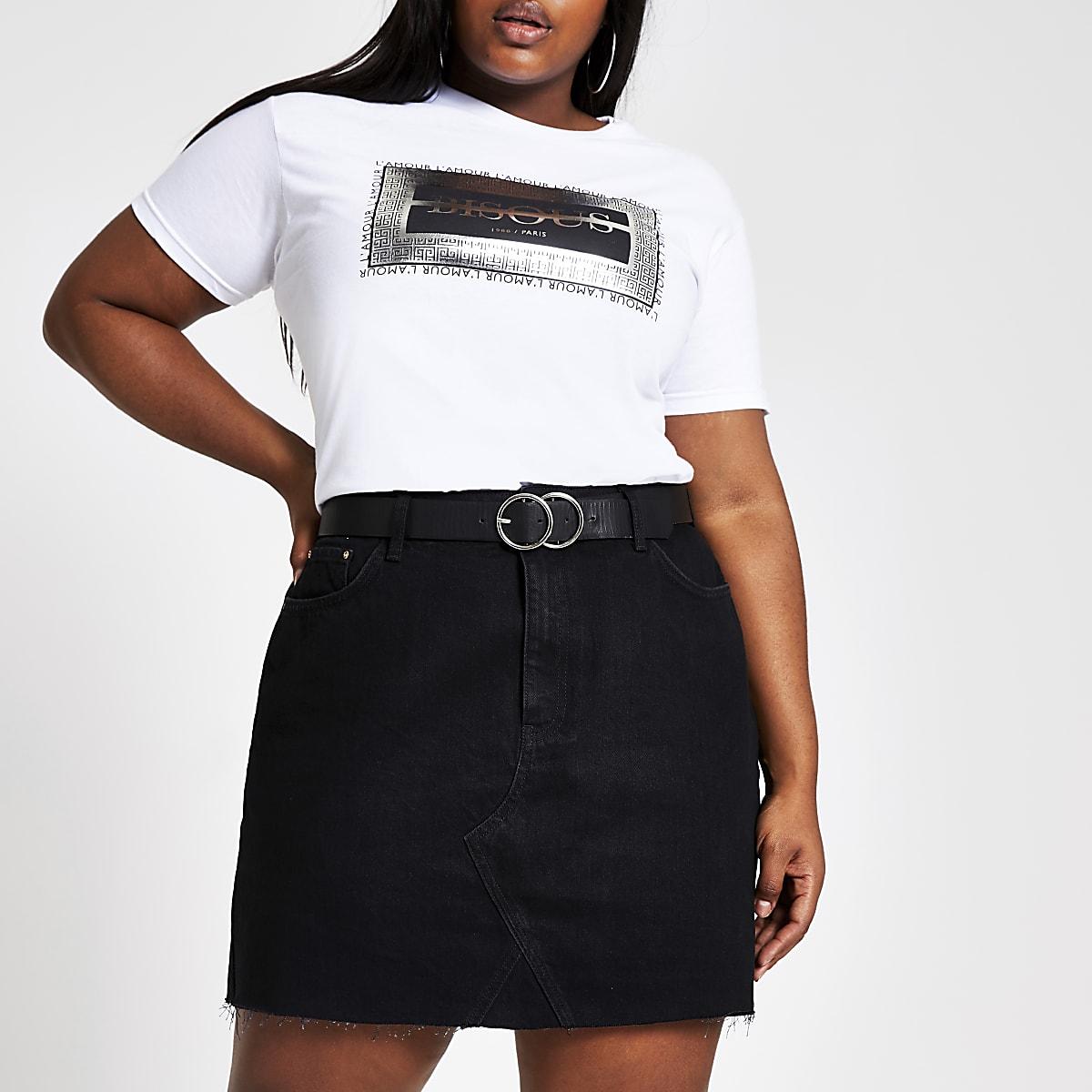 Plus white 'Bisous' foil print T-shirt