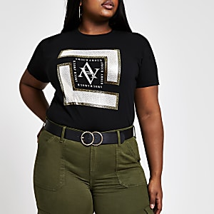 Plus – Schwarzes T-Shirt mit Folienprint