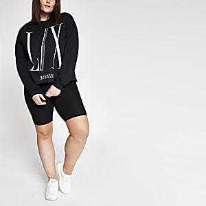 Plus black printed diamante crop sweatshirt