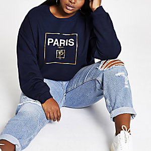 "Plus – Marineblaues Sweatshirt mit ""Paris""-Print"