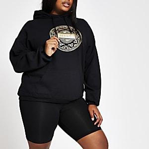 RI Plus - Zwarte hoodie met folieprint