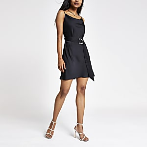 Petite black cowl neck belted slip dress