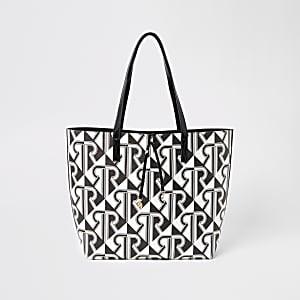 Zwart-witte shopper-handtas met RI-monogram