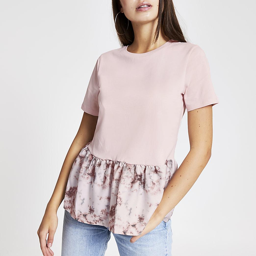 Pink tie dye peplum hem T-shirt