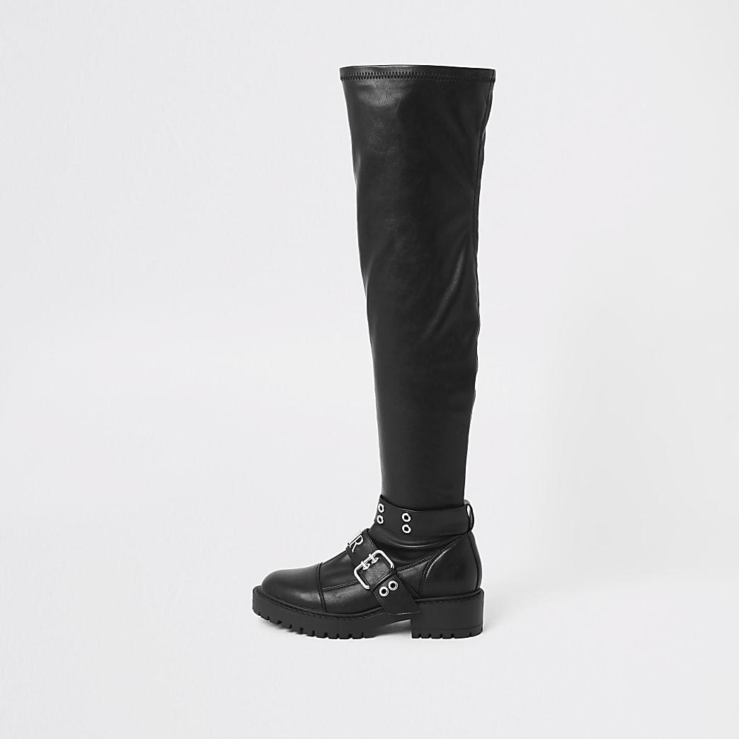 Black over the knee buckle biker boots