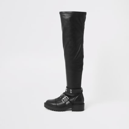 Black over the knee buckle biker boots